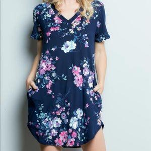 Navy floral tunic/short dress